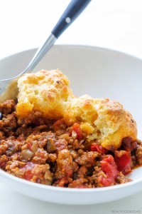 One Pan Chili Cobbler via Real Food by Dad