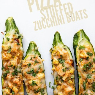 BBQ Chicken Pizza Stuffed Zucchini Boats via Real Food by Dad