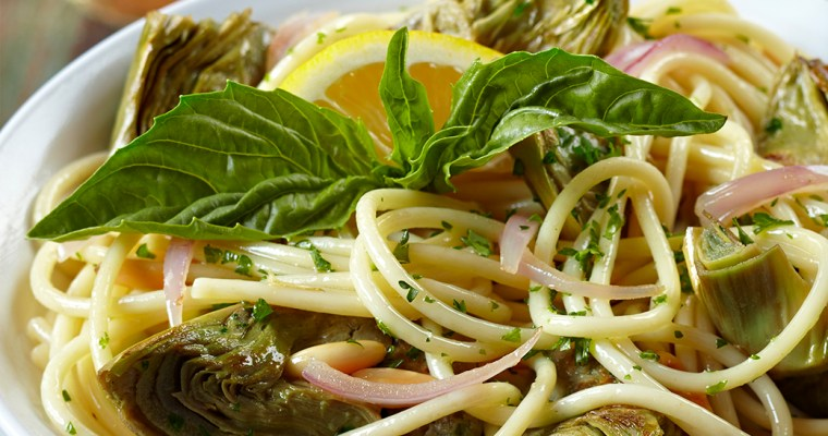 Lemon-Basil Artichokes with Pasta