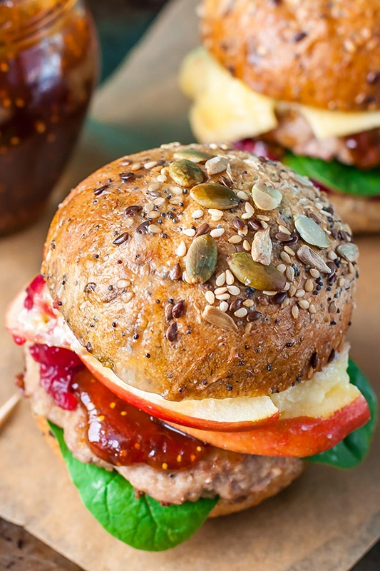 20+ Amazing Apple Recipes for Fall l apple cranberry brie turkey burger sliders