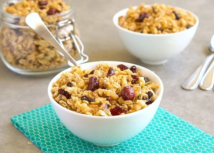 This easy gluten free granola recipe is full of oats, nuts, and dried fruit.