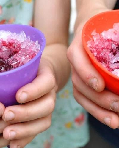 Healthy snow cones with fruit juice syrup