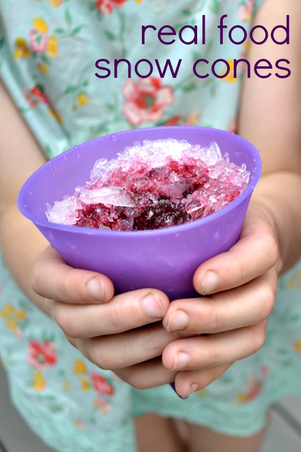 Real Food Snow Cones are an easy, healthy dessert to make. Try this recipe on a hot summer day for a hydrating treat that your kids will love.