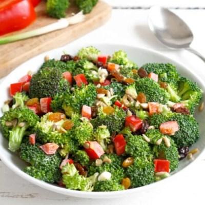 Broccoli salad in a bowl