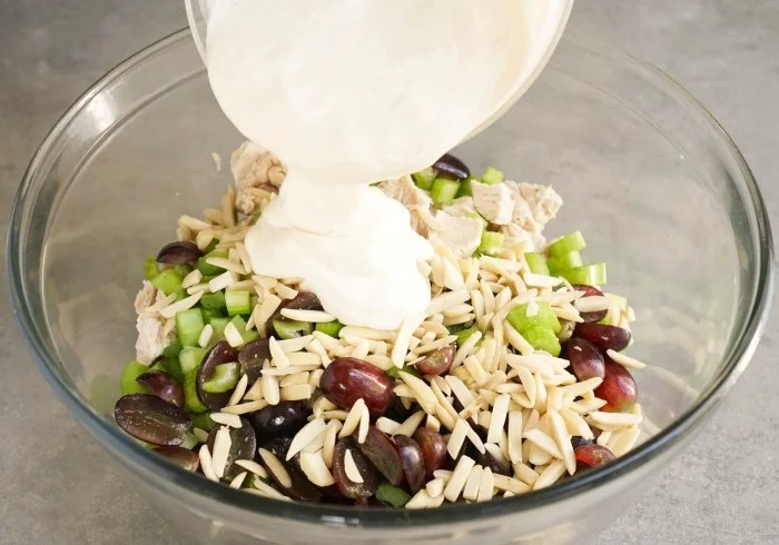 This chicken salad with grapes and almonds is lighter than most versions. The dressing features Greek yogurt, organic mayo, honey, and apple cider vinegar.