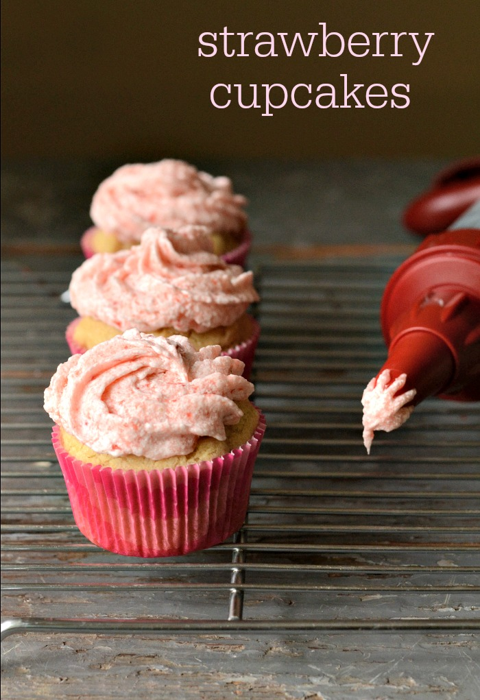 These strawberry cupcakes are a great dessert that celebrates strawberry season. These gluten-free, vegan cupcakes are a delicious, kid-friendly treat.