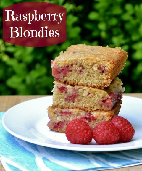These raspberry blondies are a healthy, delicious snack that your family will love. Try this easy snack recipe with fresh summer raspberries.