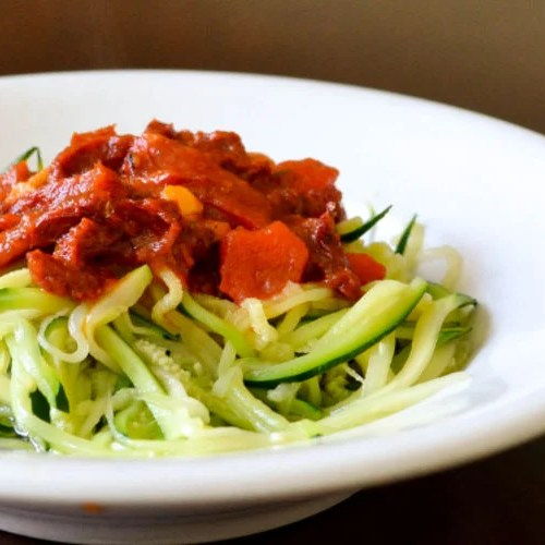 Zucchini noodle spaghetti is a gluten-free alternative to regular pasta.