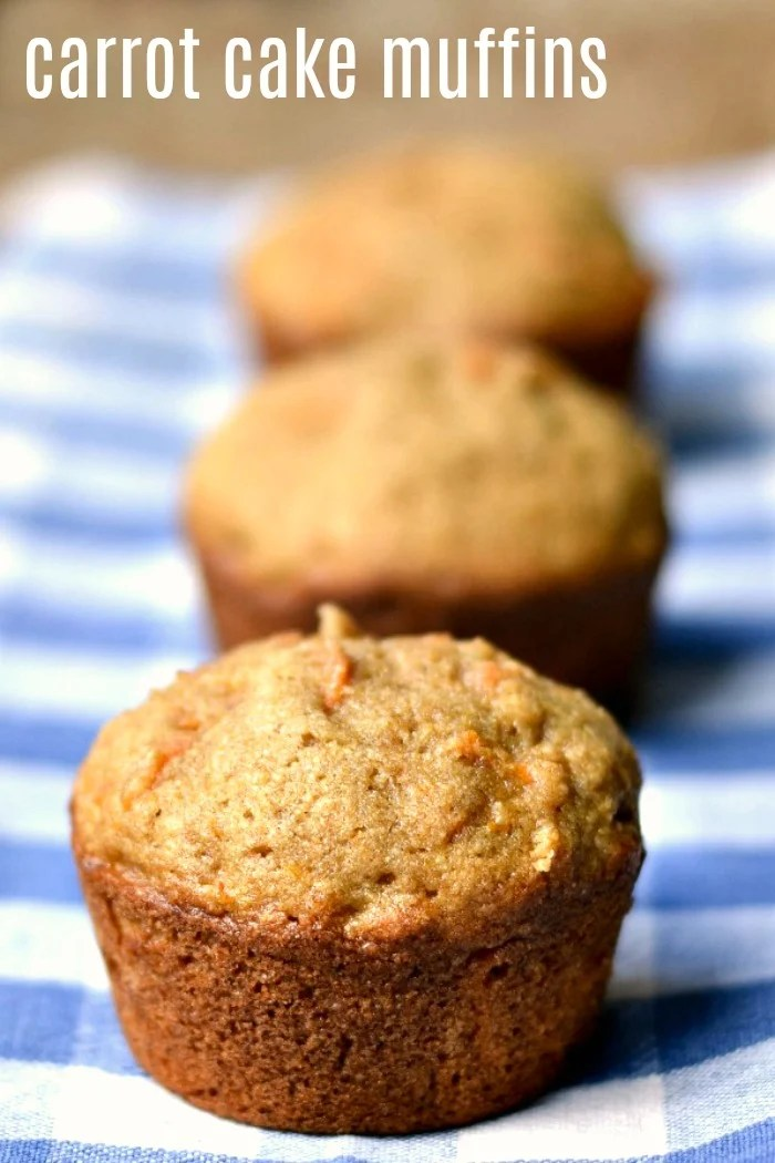 These healthy whole wheat carrot cake muffins are a delicious whole-grain snack for when you're on the go. They're great for breakfast, too.