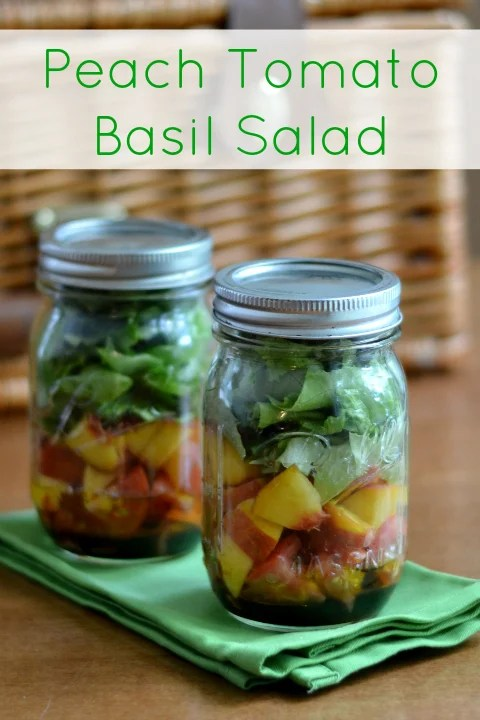 This peach tomato basil salad in a jar is a great vegan side dish to take with you on a picnic. It's a delicious summer produce recipe.