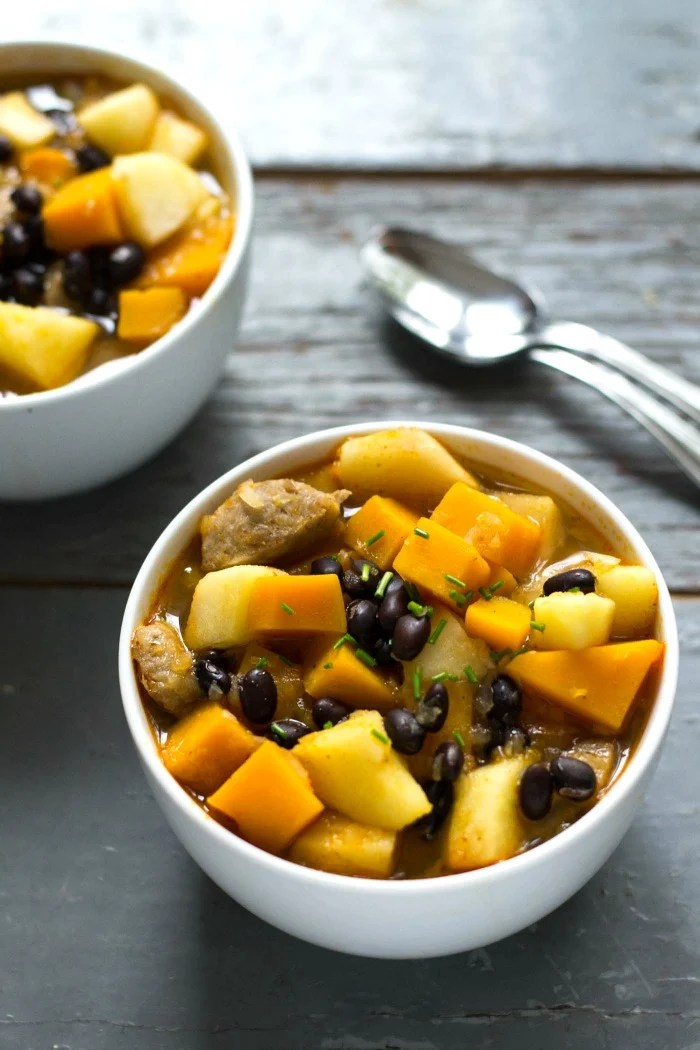 This fall harvest stew is a hearty dinner recipe featuring fresh vegetables of the season. This healthy meal is delicious on a cold night.