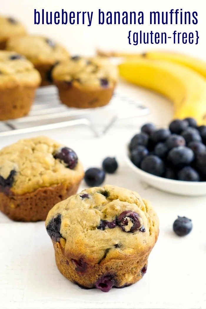 These gluten free blueberry banana muffins are a delicious, healthy snack. Fresh blueberries and ripe bananas give this recipe the best flavor!