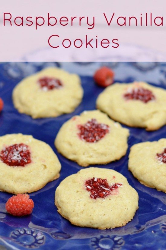 These raspberry vanilla cookies are a delicious, healthy dessert or snack. This is an easy recipe to make for a Christmas cookie swap.