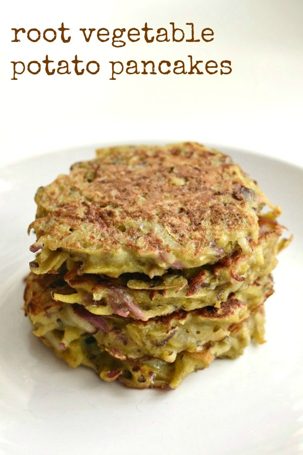 I can't stop eating these root vegetable potato pancakes! This is a delicious, healthy recipe that can hide just about any scary vegetable.