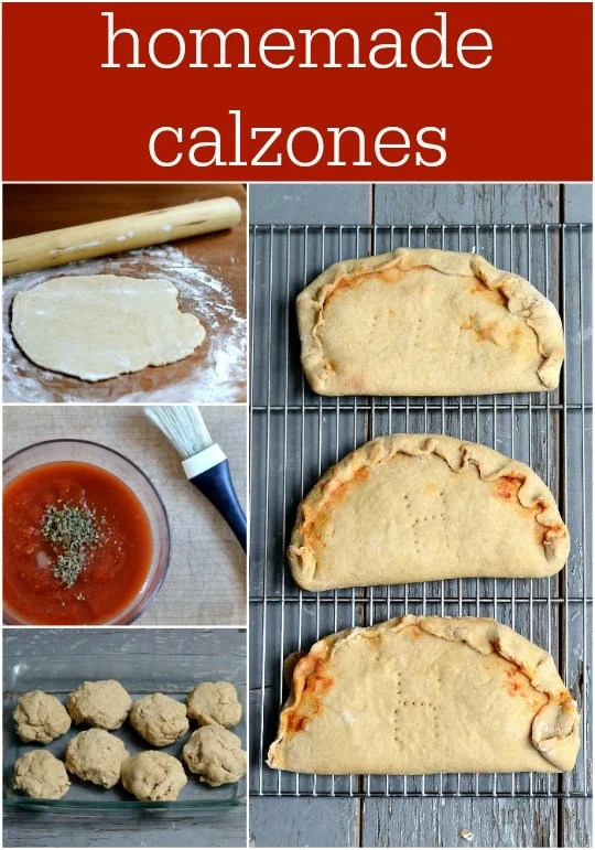 These homemade whole wheat calzones are one of my family's favorite dinners. They're an easy make-ahead meal for busy nights. Recipe from Real Food Real Deals