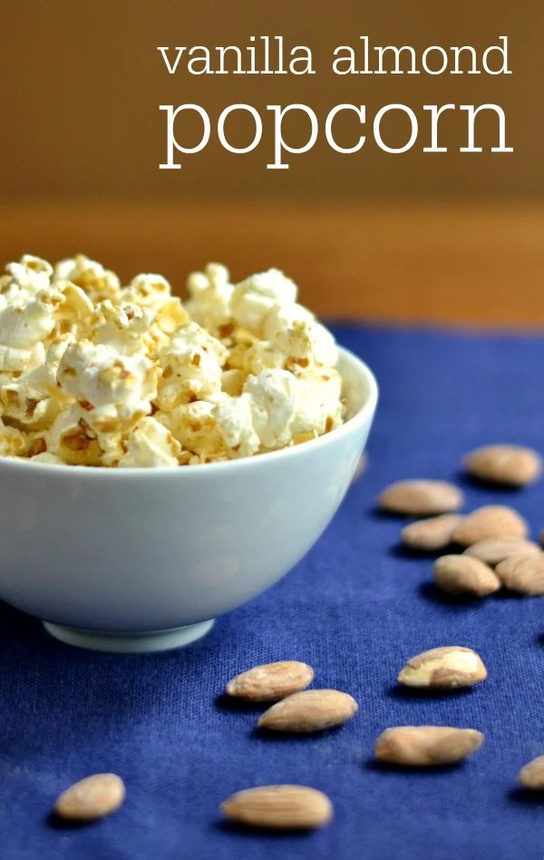 This healthy vanilla almond popcorn is such a delicious snack recipe! You won't believe all the ingredients are healthy when you taste this.