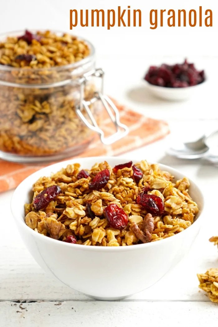 Pumpkin granola is a healthy breakfast or snack that highlights the flavors of fall. This is a very easy vegan, gluten-free recipe.
