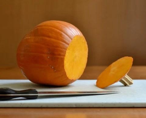 Cut the top off the pumpkin.