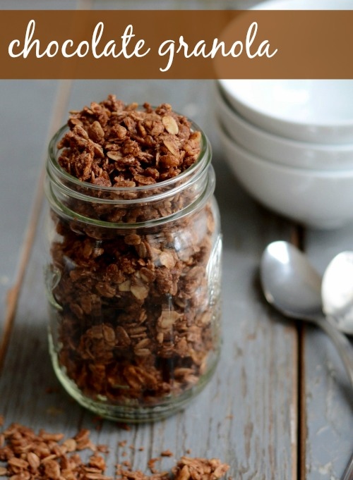 This chocolate granola recipe tastes just like chocolate sugar cereal, but it's full of healthy ingredients! Perfect vegan, gluten-free breakfast recipe!