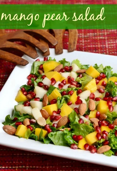 This easy Mango Pear Salad is the perfect holiday recipe. Add this bright, flavorful salad to your Thanksgiving or Christmas menu. Recipe from Real Food Real Deals.