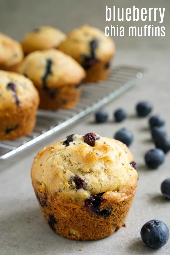 These blueberry chia seed muffins are full of great flavor and texture. This is a delicious dairy free blueberry muffin recipe for snack time or breakfast.