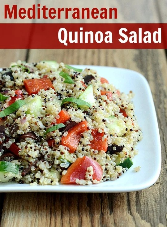 This Mediterranean quinoa salad has the flavor of Greek salad with the protein and texture of quinoa. This is a great recipe for a potluck or cookout.