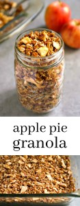 Apple Pie Granola is such a delicious, healthy breakfast or snack recipe. You won't be able to stop eating it! Gluten-free, vegan recipe from @realfoodrecipes