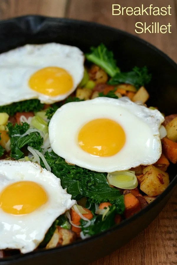 This healthy breakfast skillet is such a treat! Serve it on Christmas morning or any old Saturday. Recipe from Real Food Real Deals