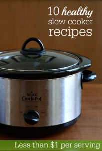 These 10 healthy Crock Pot recipes all look so good, and they all cost less than $1 per serving. Great meal planning resource for a frugal grocery budget!