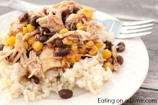 Mist a slow cooker with cooking spray. Season chicken with salt and pepper and place in slow cooker. In a large bowl, mix remaining ingredients except for optional rice or tortillas. Pour over chicken; turn to coat. Cover and cook on low until chicken is falling-apart tender, 3 to 5 hours.