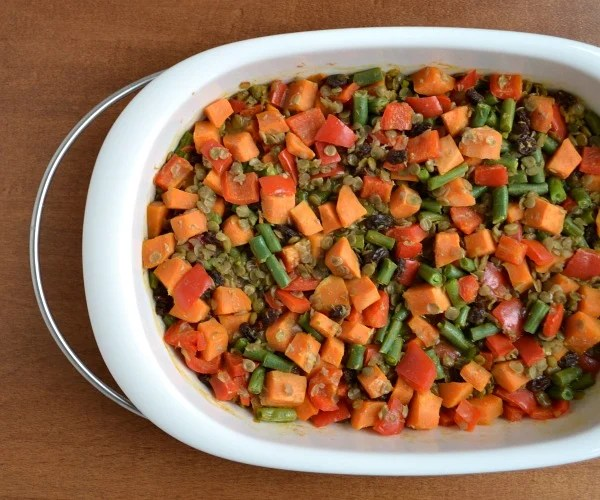 Lentil Sweet Potato Casserole, a frugal vegan dinner recipe