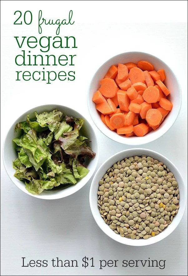 These 20 vegan dinner recipes are delicious and frugal! Each recipe costs less than $1 per serving. Healthy meals can be affordable, too!