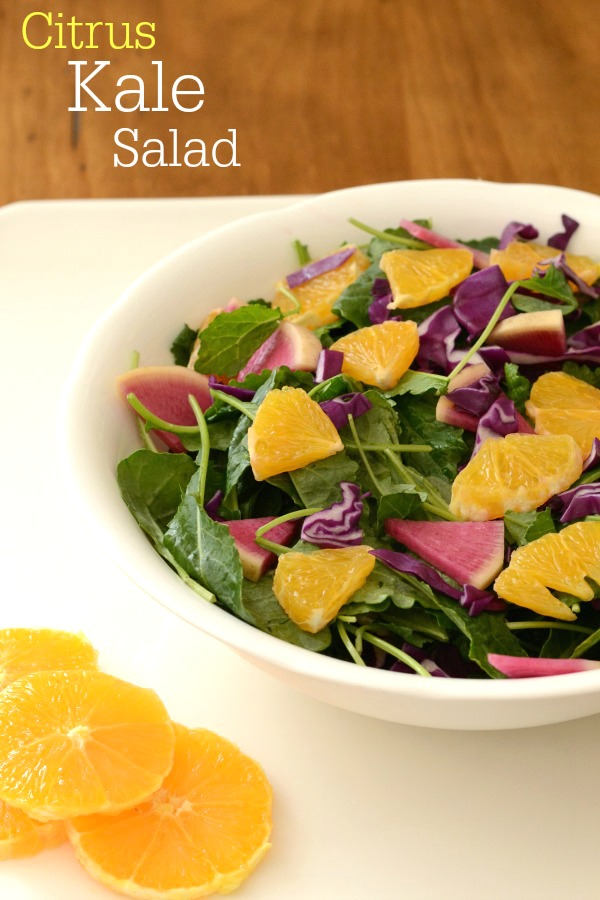 Citrus kale salad is a bright, healthy side dish recipe that features baby kale, a more tender version of the thick kale used for kale chips. The citrus dressing is delicious!