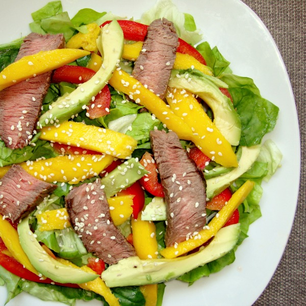 Mango steak salad is on the meal plan this week. Such a delicious recipe!