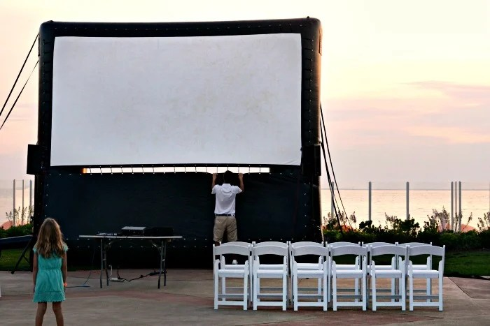 Outdoor movies at the Sea Crest are just one of the many children's activities available during the summer.