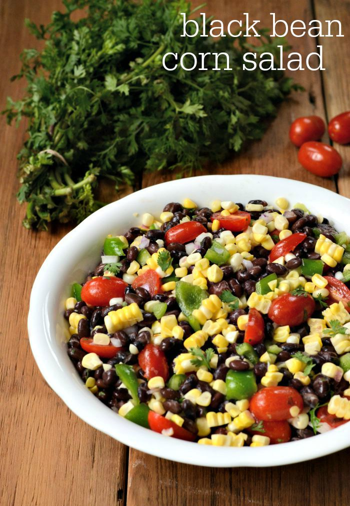 This black bean corn salad recipe is a delicious side dish or light meal full of fresh summer vegetables from the farmers market.
