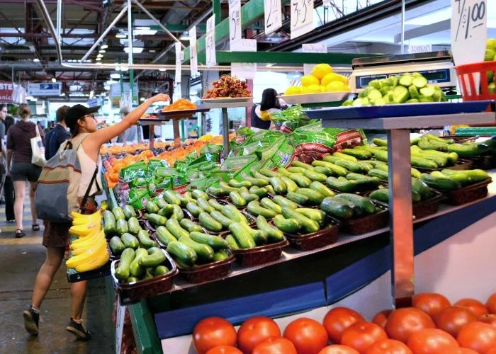 There are loads of samples available at the produce stands at Jean-Talon Market in Montreal.