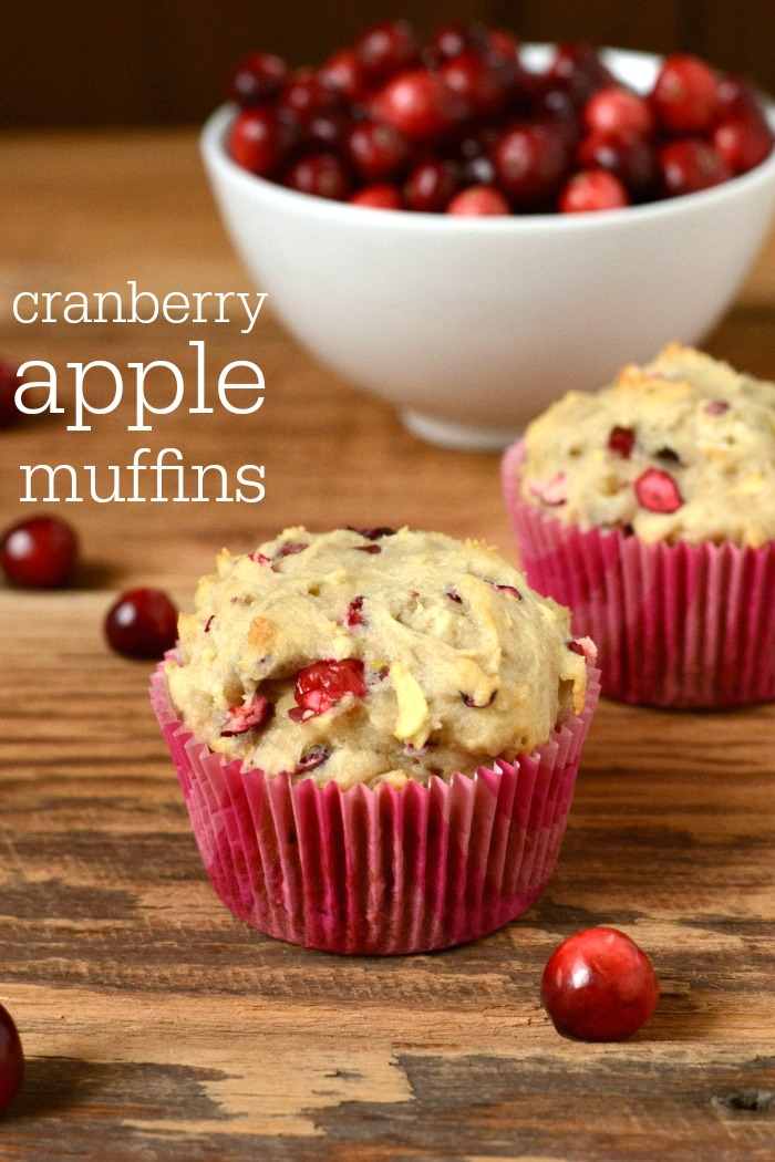 These cranberry apple muffins are a delicious, healthy fall snack. This recipe would make a great addition to the bread basket on Thanksgiving.