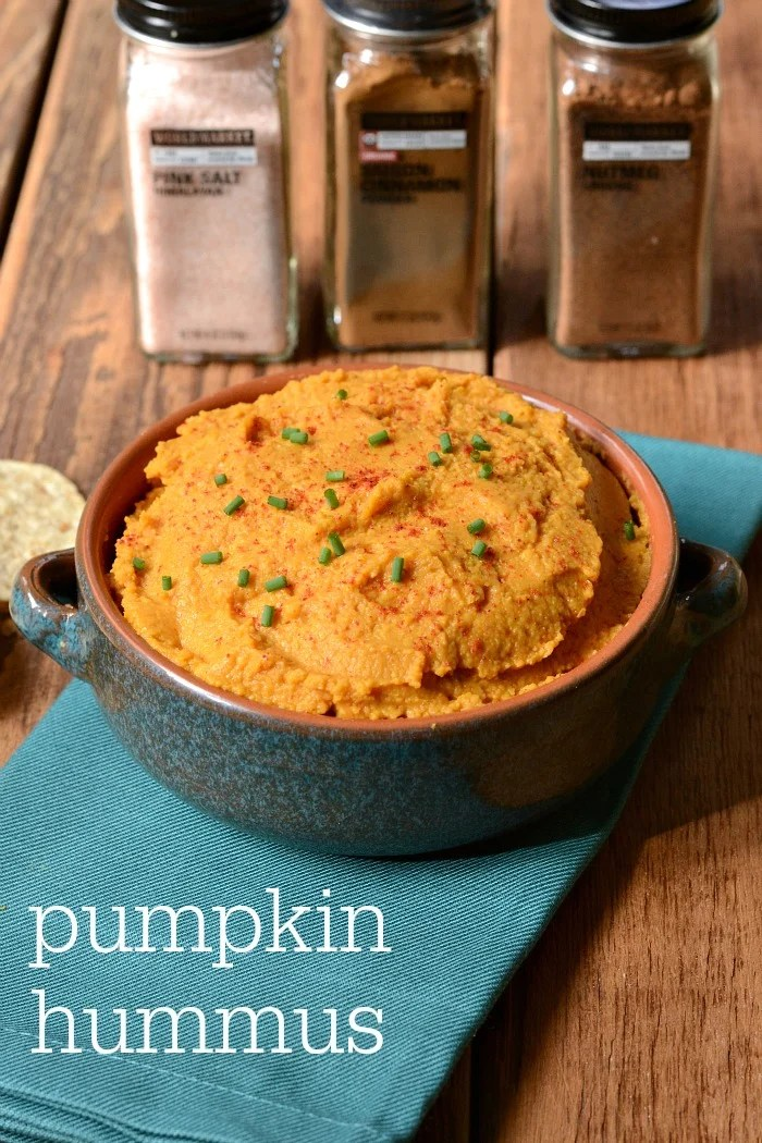 This pumpkin hummus recipe is a healthy appetizer that highlights the flavors of fall with my favorite seasonal spices. Perfect for a Halloween party!