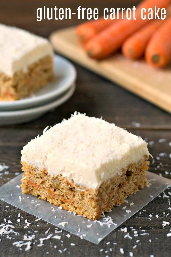 This gluten free carrot cake recipe is a delicious treat full of carrots and walnuts. Serve this healthy recipe for a fun dessert at Easter or any time of year.