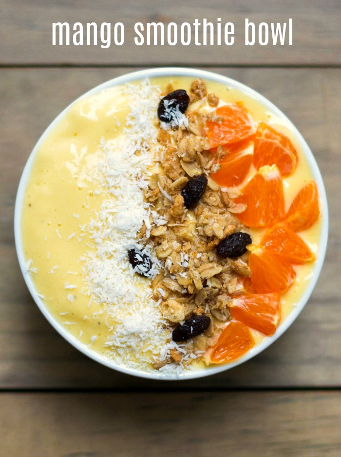 This mango banana smoothie bowl is an easy, delicious breakfast recipe that's ready in 5 minutes.