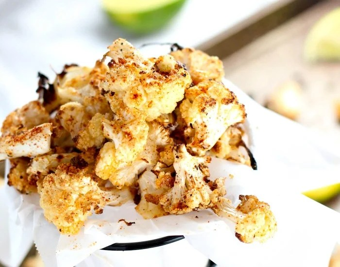 Chipotle Lime Oven Roasted Cauliflower Popcorn