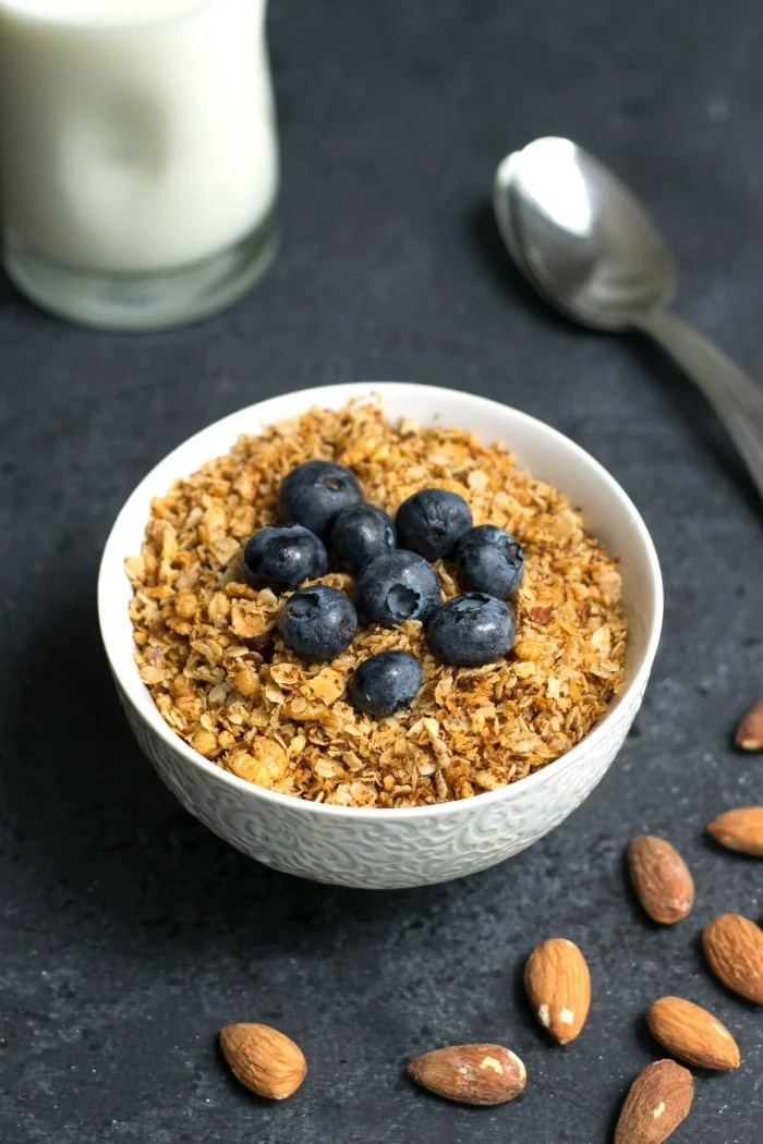This coconut granola recipe is a healthy breakfast or snack. It takes just a few minutes of prep time to make this delicious granola.
