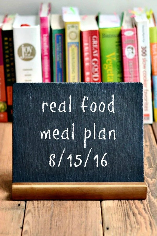 Real Food Meal Plan Week 123 includes healthy dinner recipes featuring vegetables from our farm share, plus a favorite comfort food meal.