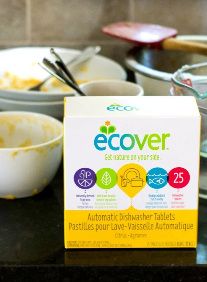 Ecover Dishwasher Tablets do a great job getting dirty dishes clean. They're made with naturally derived ingredients. Great for a busy kitchen!