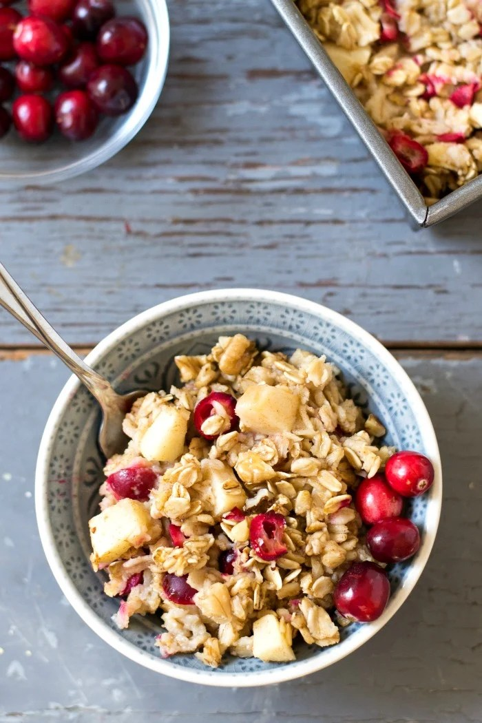 This Cranberry Apple Baked Oatmeal is a cozy, healthy breakfast recipe for a fall morning. It features that delicious tart and sweet flavor combination. Recipe from realfoodrealdeals.com