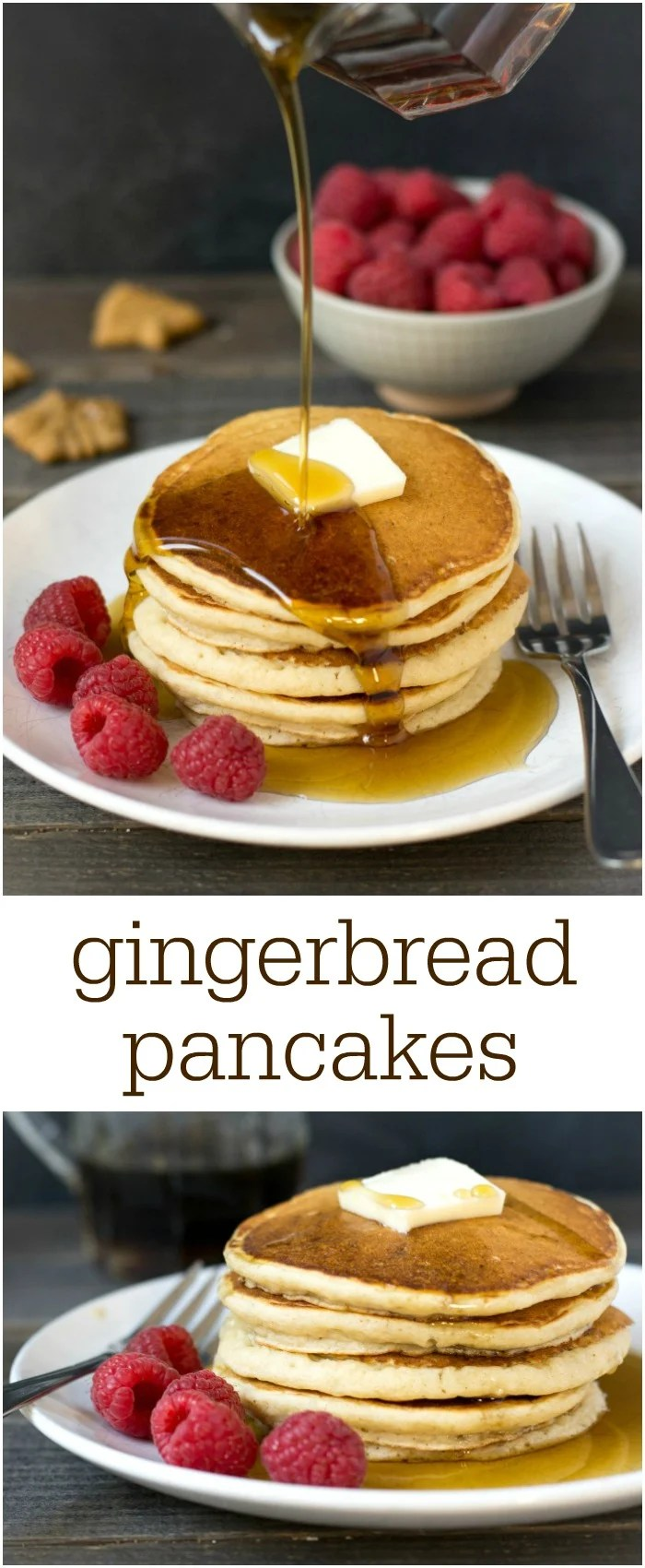 These gluten free gingerbread pancakes are so delicious for a holiday breakfast! This healthy recipe will get everyone in the holiday spirit. Recipe from realfoodrealdeals.com