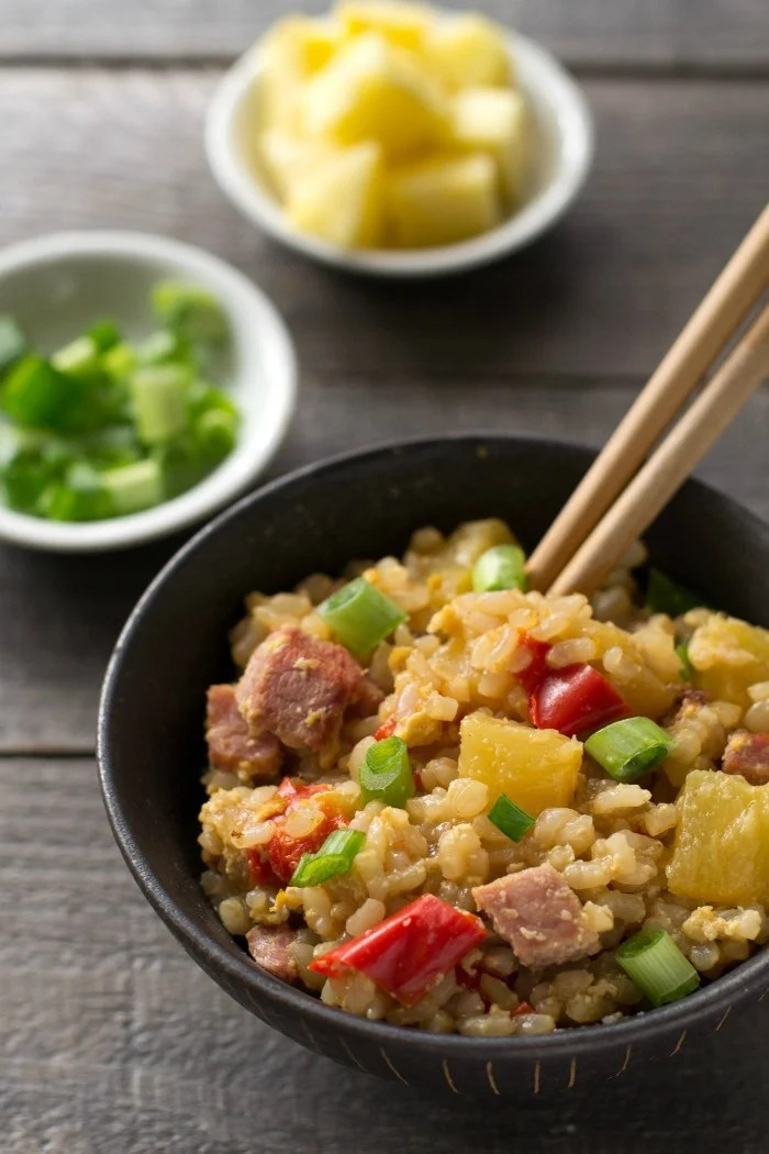This Instant Pot Hawaiian Fried Rice is a delicious, easy recipe that's so much healthier than takeout. Great comfort food flavor in this gluten-free lunch or dinner!
