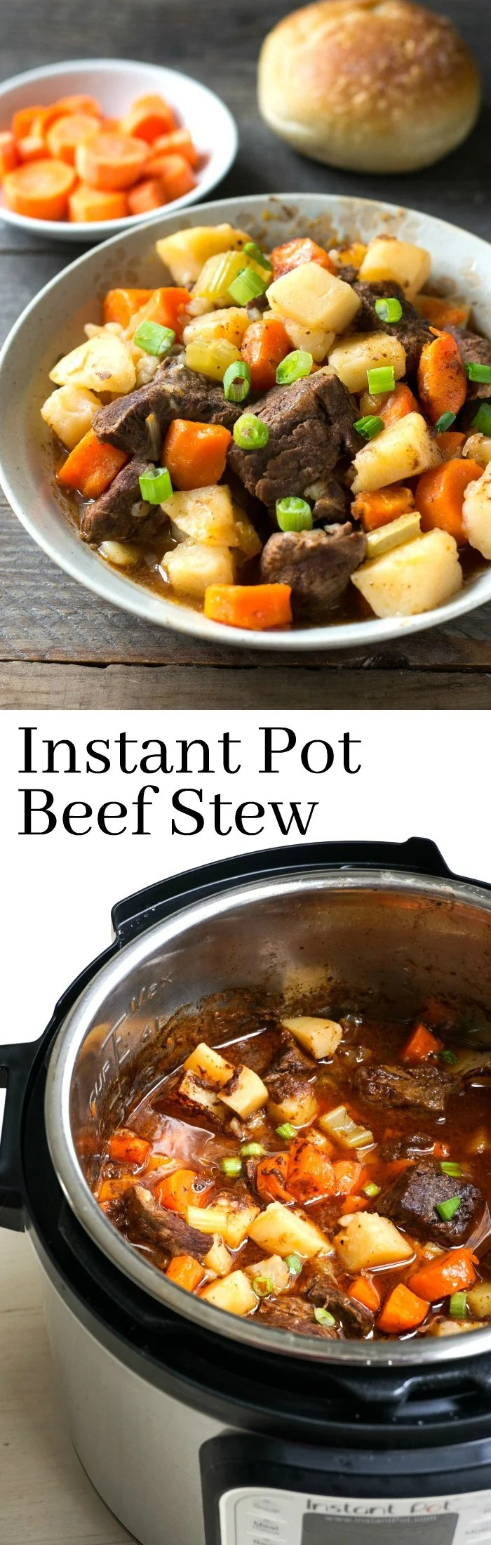 This Instant Pot Beef Stew is a delicious, healthy dinner recipe. It's so easy to make this comfort food favorite in the Instant Pot. Gluten-free, dairy-free recipe from realfoodrealdeals.com