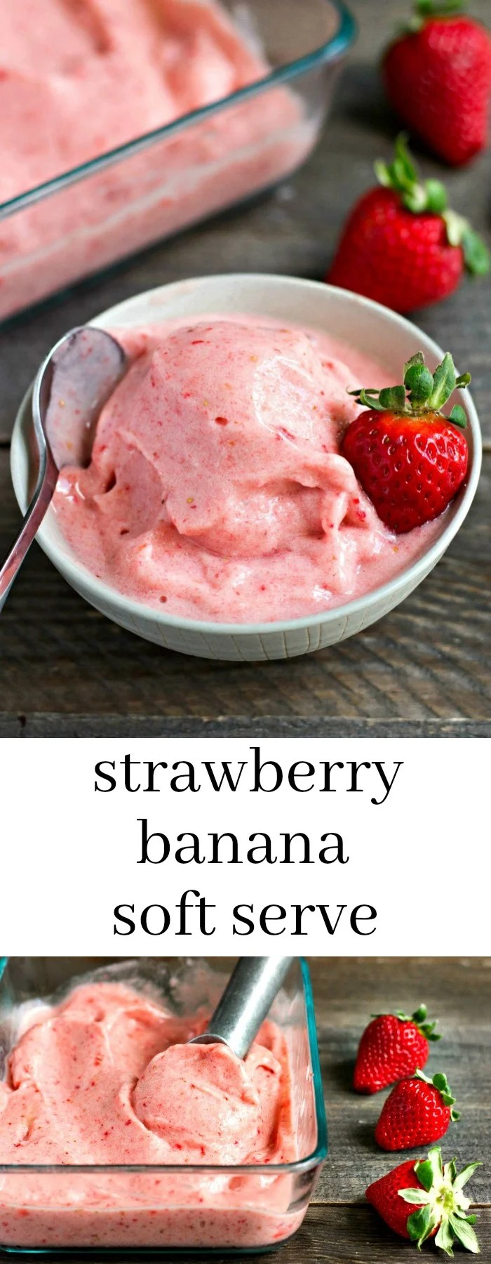 This strawberry banana soft serve ice cream is such an easy vegan dessert recipe. You just need 4 ingredients and 5 minutes to make this simple summer treat!